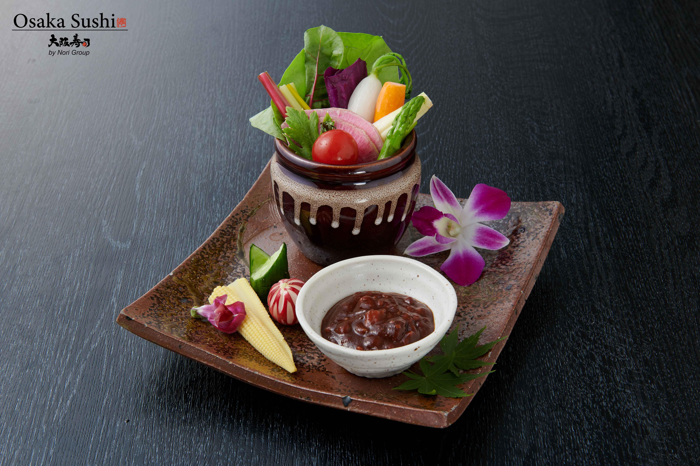Fresh vegetable with tomato miso sauce