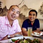 Actor quyen linh and his friend have lunch at Osaka Sushi restaurant